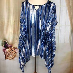 Cato Blue Asymmetrical Short Sleeved Blouse